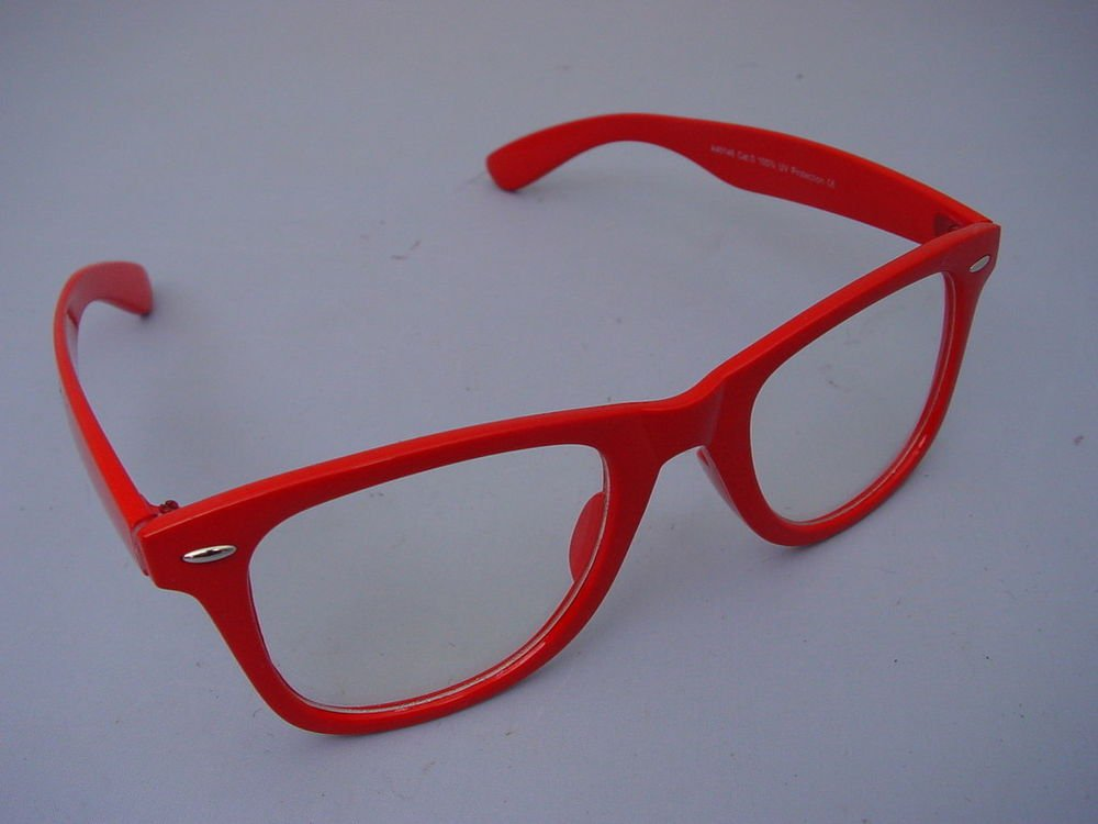 WAYFARER STYLE CLEAR GLASSES RED FRAMES  RETRO LOOK