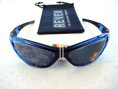 POLARIZED REVEX BLUE & BLACK SPORTY SUNGLASSES & POUCH P725