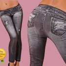 BRAND NEW GREY DENIM JEANS LOOK LEGGINGS JEGGINGS TIGHTS FASHION UK 8 10 12