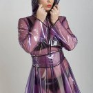 QUALITY LADIES PVC RAINCOAT JACKET MAC RAIN 40'S STYLE COAT PURPLE  MEDIUM FR18