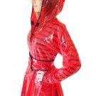 QUALITY LADIES PVC RAINCOAT JACKET MAC RAIN 40'S STYLE COAT RED XL FR18