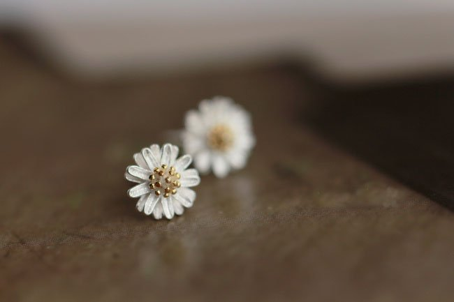 Sterling Silver 0.925 Flower earring with gold plated stamen