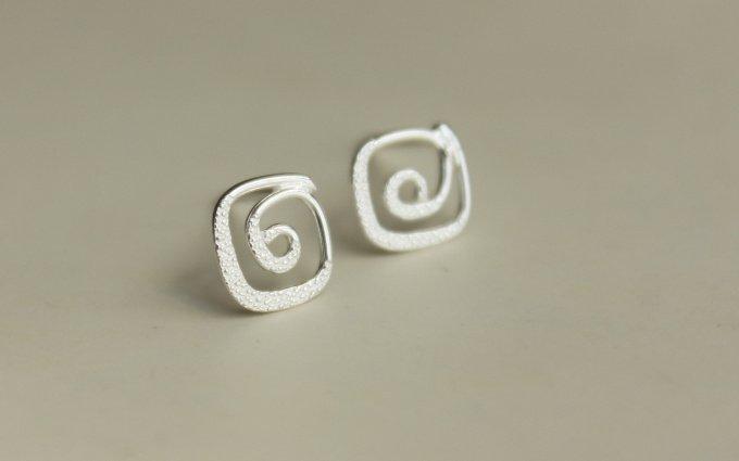 Sterling Silver 0.925 Spiral earring