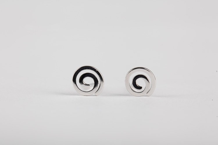 Sterling Silver 0.925 Spiral Earring with white gold plated