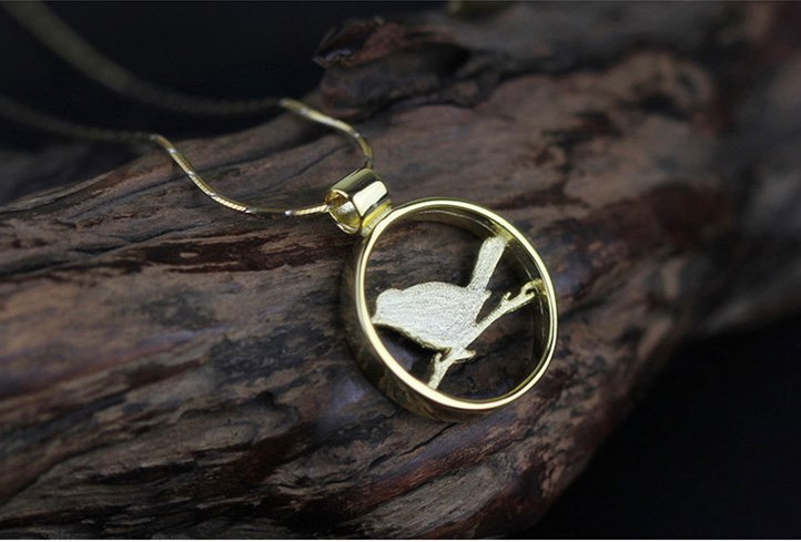 Gold Plated over Sterling Silver 0.925 Bird Pendant for Chain Necklace