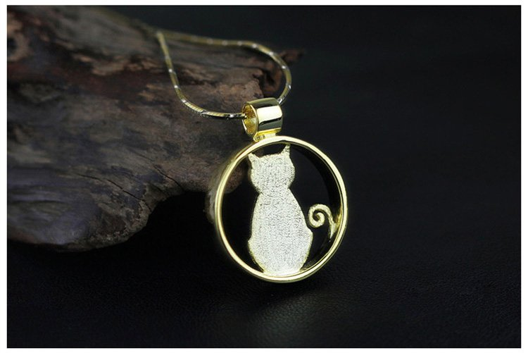 Gold Plated over Sterling Silver 0.925 Tiny Cat Pendant for Chain Necklace