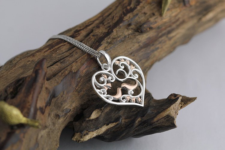 Rose Gold Plated over Sterling Silver 0.925 Love Birds  Pendant for Chain Necklace