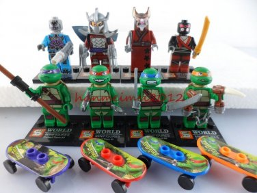 Set of 8 Ninja Turtles Building Block Toys with Weapons Skateboards TMNT