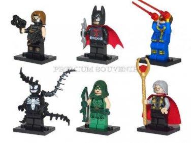 Set of 6 Minifigures Super Hero Building Block Toys Odin Green Lantern Batman