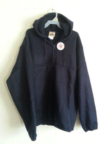 Ideal Navy Blue Fleece Hoodie Sweatshirt 1/3 zip with pouch NEW size S M L XL 2X