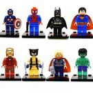 Set of 8 Super Hero Minifigures Building Block Toys Hulk Batman Spiderman Thor