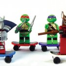 Set of 6 Ninja Turtles Toys with Weapons Pizza Skateboards No Box TMNT