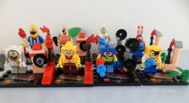 Set of 8 Spongebob Minifigures with accessories cards Patrick  Mr Crab Space