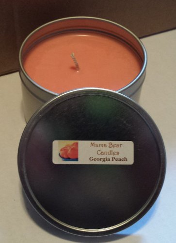 Georgia Peach Soy Candle in 8oz Tin with Lid