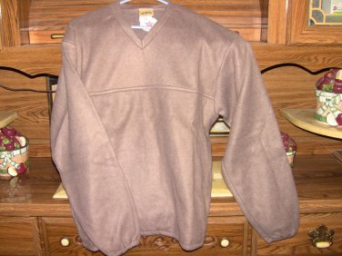 Beige V-neck Fleece Sweater with side to side pocket -NEW - Sizes S/M