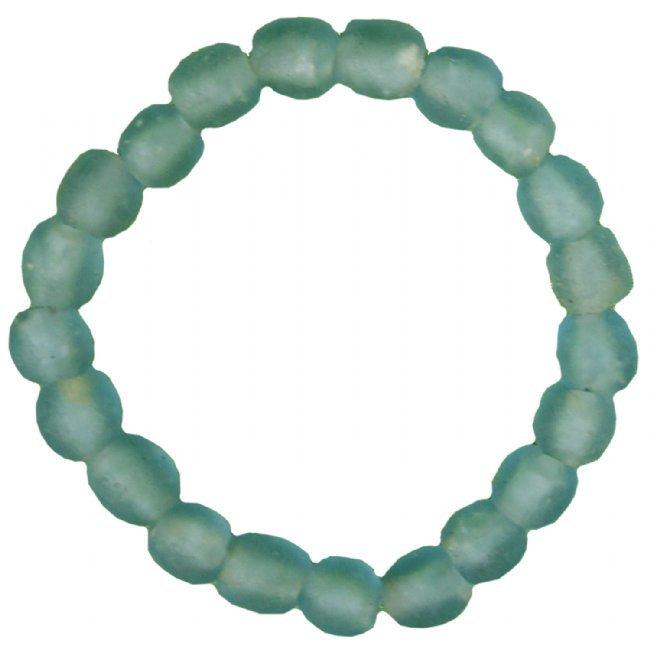Handmade Recycled Glass Bead Stretch Bracelet Aqua