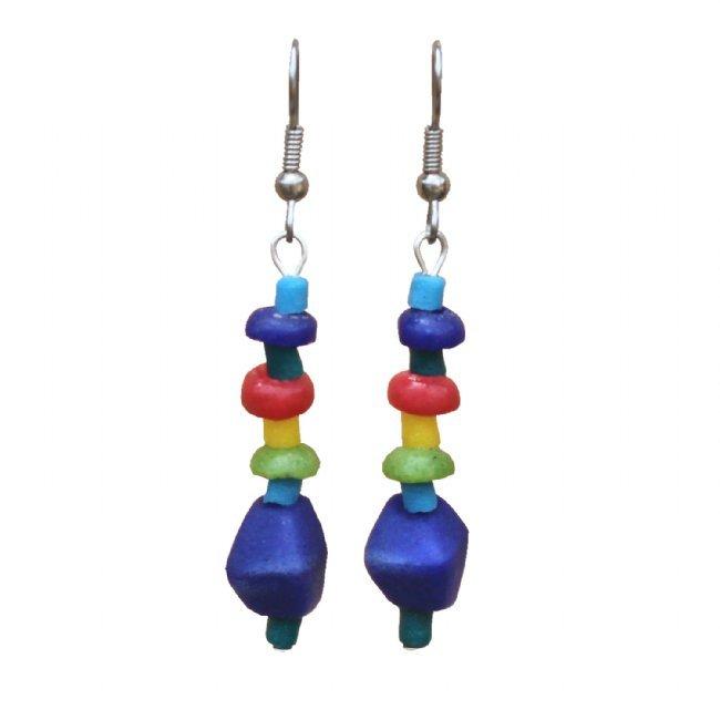 Handmade Rainbow Graduated Drop Earrings Glass Pebbles Fair Trade