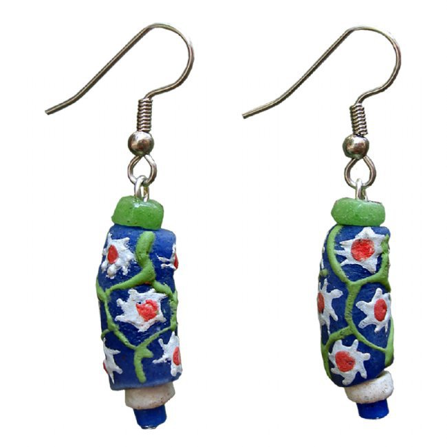 Handmade Painted Glass Bead Drop Sister Earrings Prosperity Recycled Fair Trade