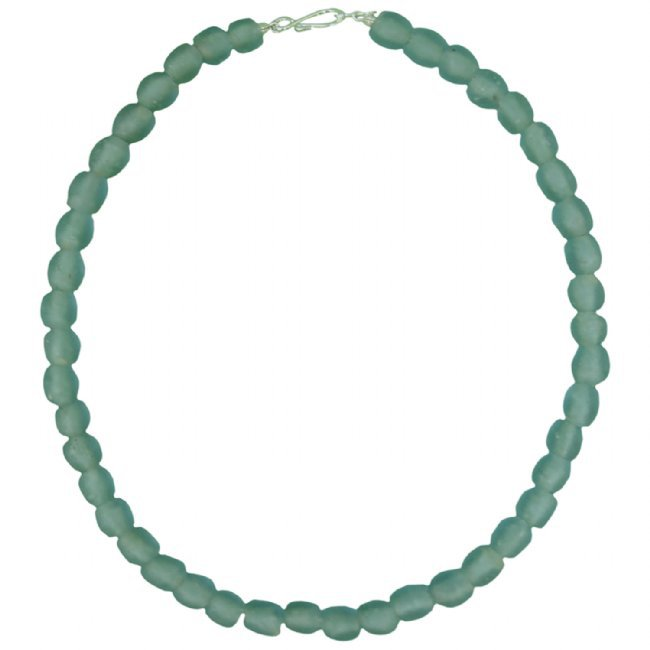 Recycled Glass Pearl Bead Necklace Aqua Handmade Fair Trade