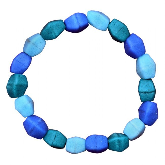 Three Tone Blue Recycled Glass Bead Stretch Bracelet Handmade Fair Trade