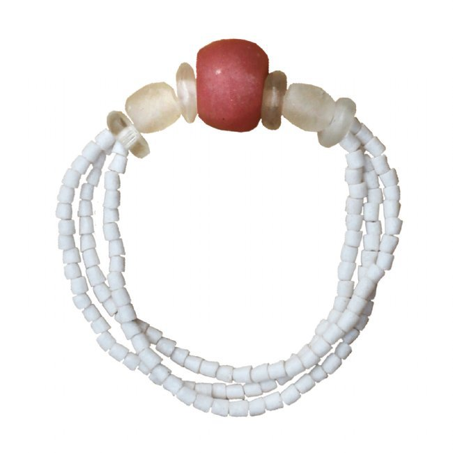 Handmade Recyceled Pink Poppy Glass Bead Abacus Stretch Bracelet Fair Trade