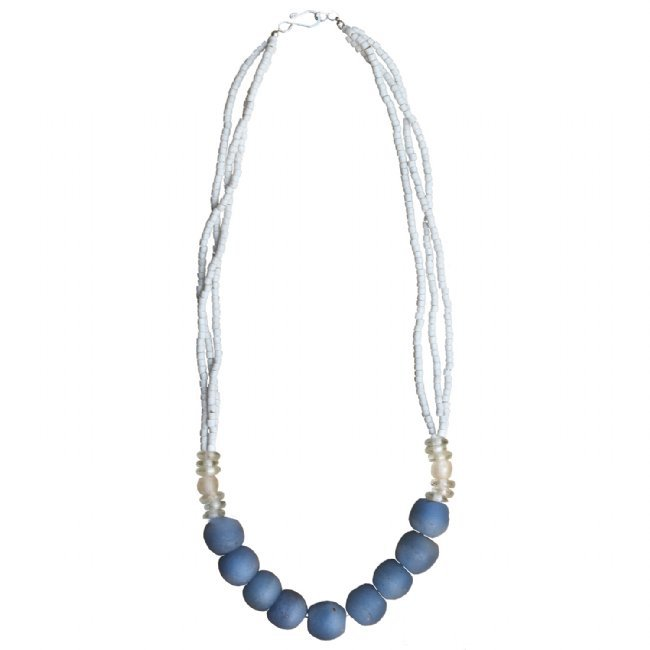 White and Blue Recycled Glass Bead Abacus 3-layer Long Necklace Handmade Fair Trade