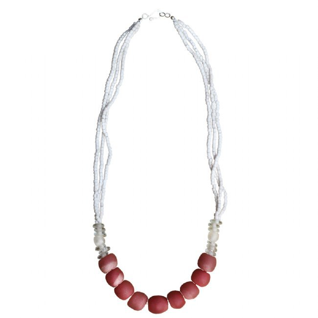 White and Pink Recycled Glass Bead Abacus 3-layer Long Necklace Handmade Fair Trade