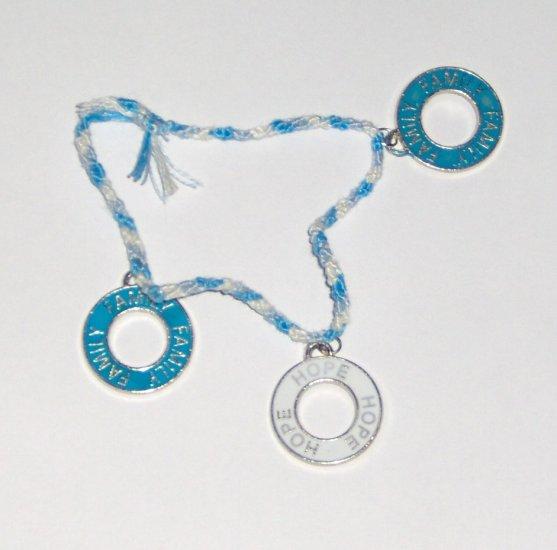 Braided circle charm bracelet