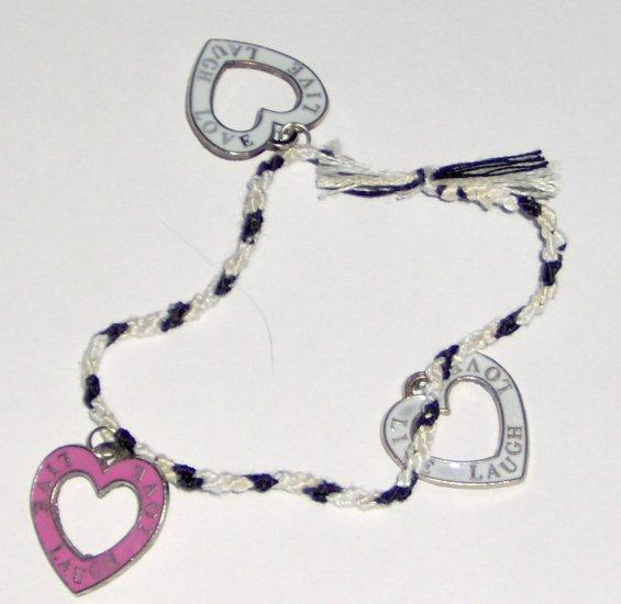 LIVE LOVE LAUGH braided heart charm bracelet