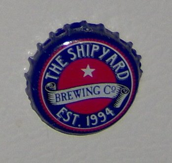 Handmade Recycled beer bottlecap fridge magnet dark blue and red