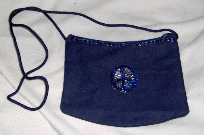 Hand embellished sequin zippered twill purse - blue and silver peace