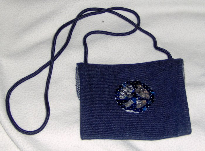 Hand embellished sequin twill purse - blue and silver peace