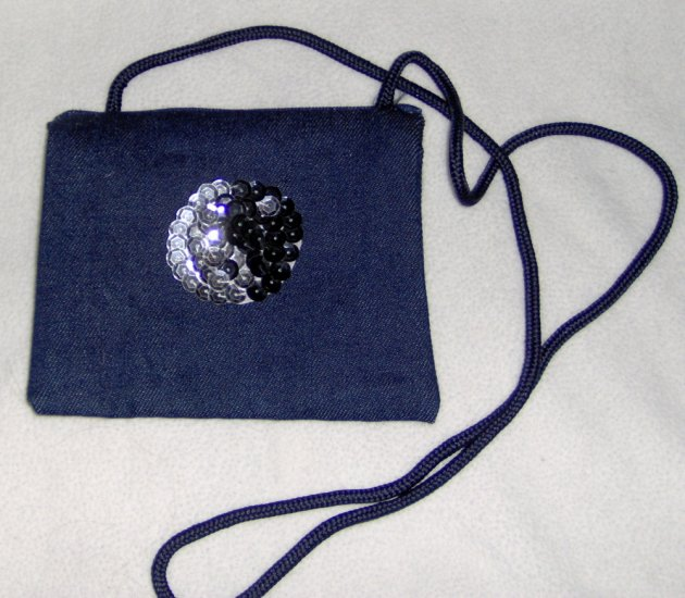 Hand embellished sequin twill purse - black and silver yin yang