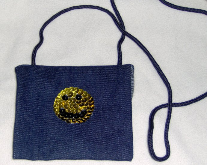Hand embellished sequin twill purse - black and gold smiley face
