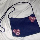 Hand embellished twill purse - red / purple fabric flowers