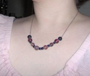 Purple glass bead and silver chain necklace