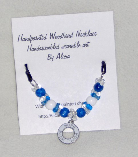 Blue HOPE charm necklace