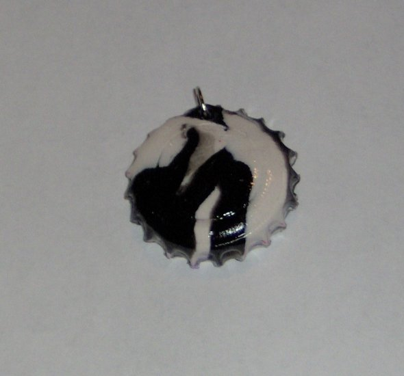 Black and white polymer clay bottlecap pendant