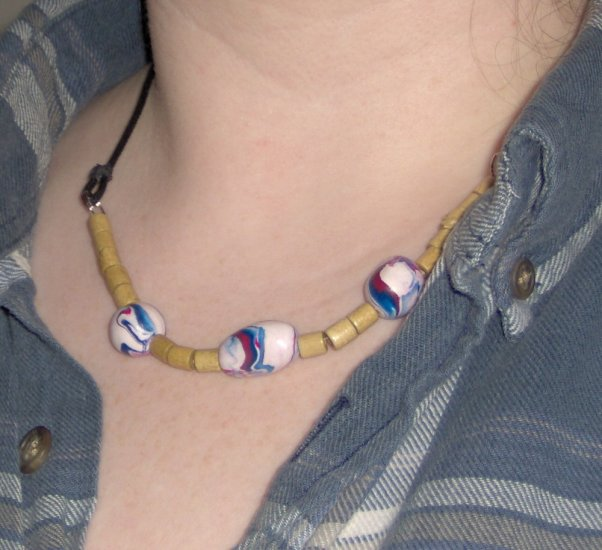 Americana wood bead and polymer clay necklace