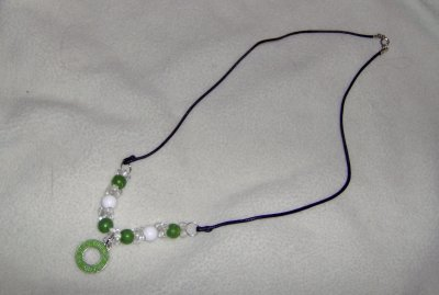 GREEN Friends charm necklace with vintage beads