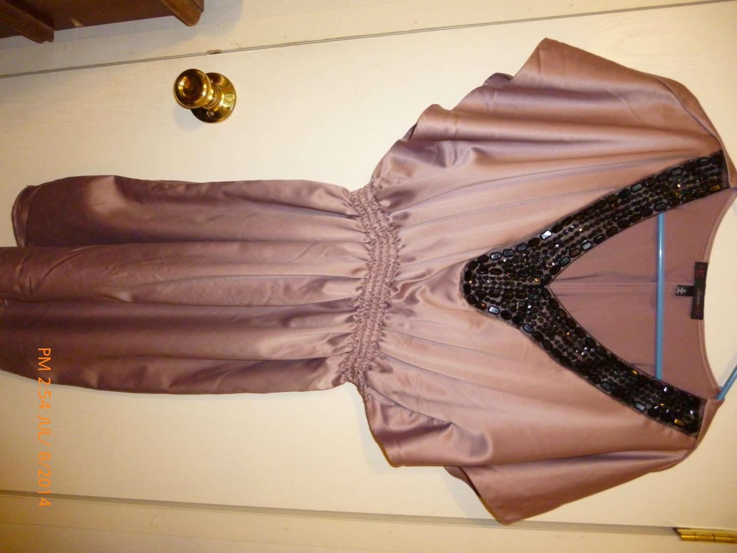 Sassy and Elegant Pink with Black Beaded  Neck Dress