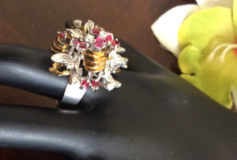 18k diamond and princess cut ruby flower ring