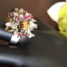 18k diamond and princess cut ruby flower ring