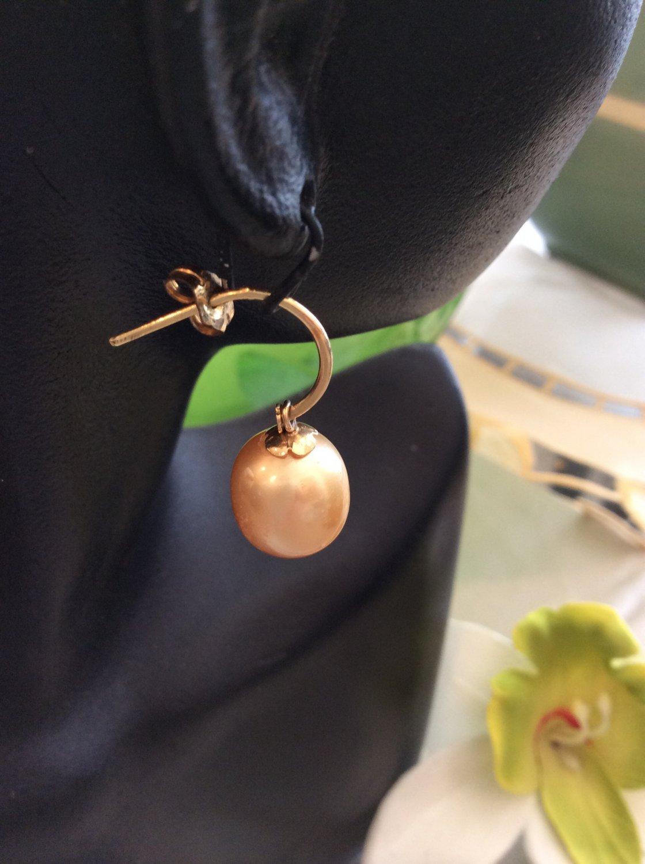 14k Golden south sea pearl dangling earrings