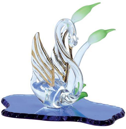Spun Glass Swan on Blue Lake - #30812