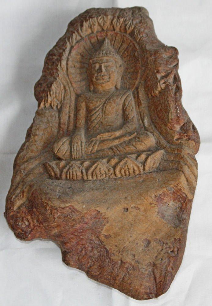 Asian Wooden Sitting Buddha #15