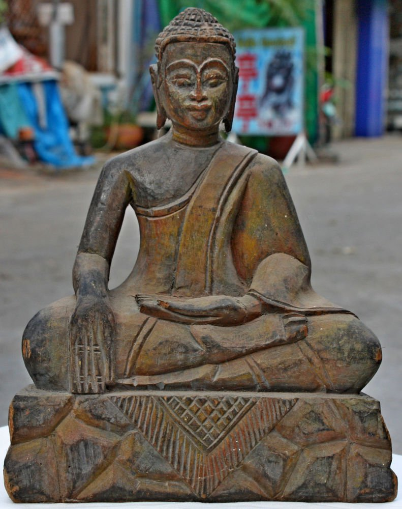 Asian Wooden Sitting Buddha #10