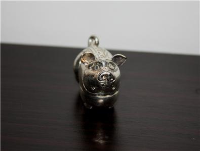 Asian Silver Pig Trinket Box