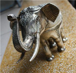 Asian Silver Standing Elephant Statue Box