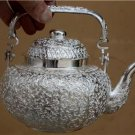 Beautiful Asian Handcrafted Silver Teapot